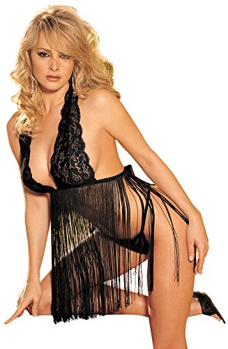 Of Camisole Shirley Stretch Hollywood - Shirley of Hollywood Women's Flapperesque Fringed Babydoll, Black, One Size
