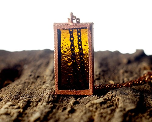 (Recycled Samuel Adams Beer Bottle Pendant - Melted Brown Glass and Copper Necklace)