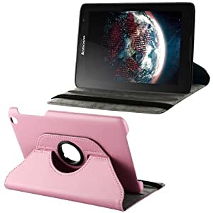 Litchi Texture 360 Degree Rotation Leather Case with 2 Gears Holder & Sleep / Wake-up Function for Lenovo A8-50 / A5500 (Pink)