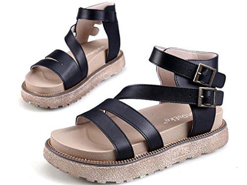 SHFANG Sandalias de las señoras Estilo romano del verano Cabeza redonda Los estudiantes cómodos ocio partido de las compras tres colores los 5cm Black