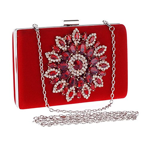 Handbag For Bag Ladies Party Shoulder Christmas Clutch Diamond Clutch Red Dinner OYwq5UY