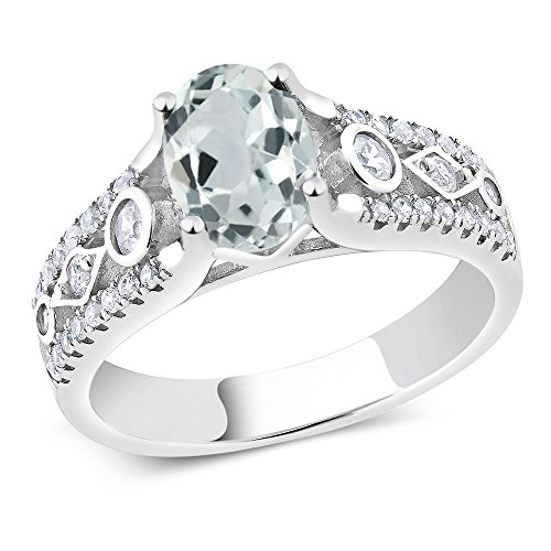 925 Sterling Silver Sky Blue Aquamarine Women's Engagement Ring (1.66 Ctw, Center Stone: 8X6MM Oval, Available in size 5, 6, 7, 8, 9)