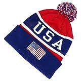 USA American Flag Emroidered Pom Pom Bea...