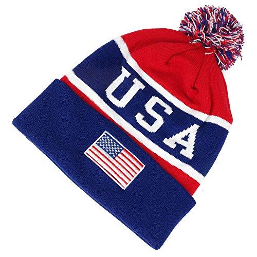 USA American Flag Emroidered Pom Pom Beanie Hat - Navy Red