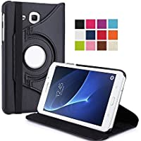 TGK 360 Degree Rotating Leather Smart Rotary Swivel Stand Case Cover for Samsung Galaxy TAB J Max 7 inch/Tab A 7.0 inch SM- T280, T285 (Black)