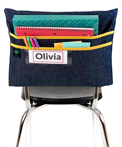 Aussie Pouch Chair Pocket with Double Pocket Design and Name Tag Pocket, Large, 17 Inches, Yellow -