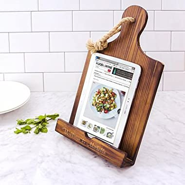 Personalized Brown Wooden iPad & Recipe Stand and Mini Love Favor Frame