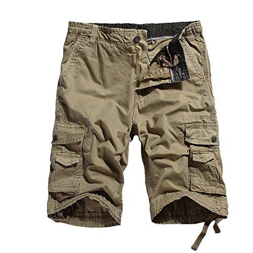 OCHENTA Men's Cotton Leisure Multi Pockets Cargo Shorts