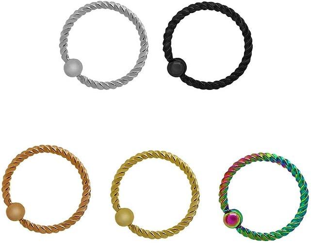 Edelstahl Piercing Ring Septum Kugel Nase Lippe Spirale Gedreht Ohrring Helix