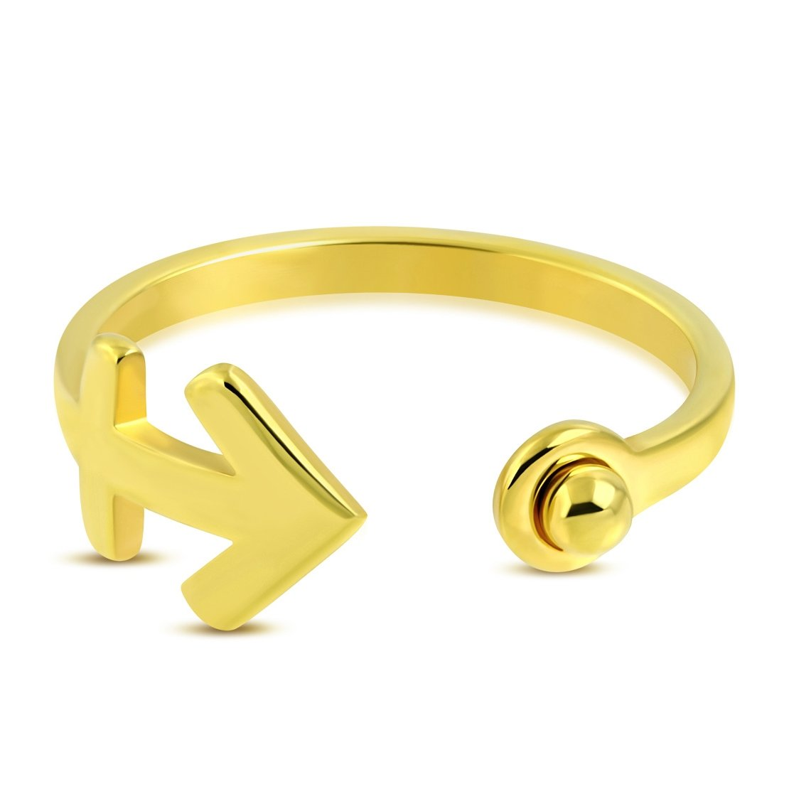 Stainless Steel Gold Color Plated Marine Anchor Cross Fancy Open Ring