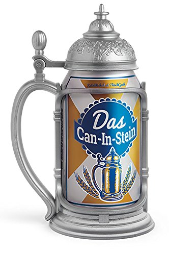 ThinkGeek Das Can-In-Stein Drink Holder - Oktoberfest Every Day, Looks Like You're Drinking from a Pewter Tankard - Standard 12-Ounce Can