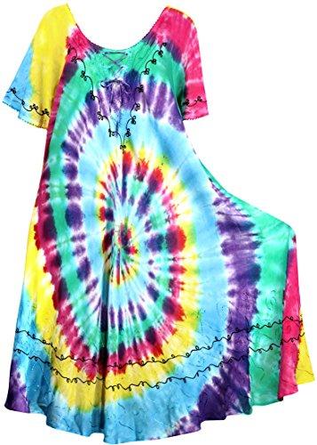 La Leela Embroidered Tie Dye Short Beachwear Dress OSFM 14-20W [L- 2X] (Tie Dye Camisole Dress)