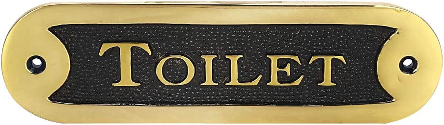 A29 Rectangular Toilet Door Sign Plate, Blackened Brass Finish Door Sign for Homes Offices Shops Cafes Stores, Easy DIY Installation for Indoors and Outdoors Bathroom Sign Decor(6 1/4 x 1 3/4 Inches)