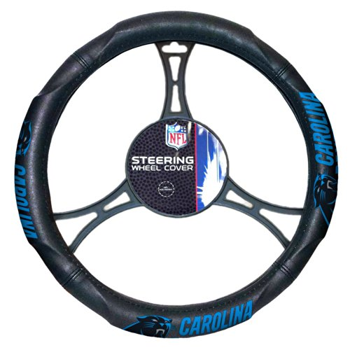 Officially Licensed NFL Carolina Panthers Steering Wheel Cover - Nfl Carolina Panthers Home Accessories