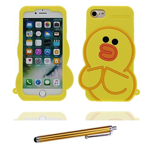 iPhone 7 Plus Coque, Étui iPhone 7 Plus 5.5 pouces, [ TPU Flexible 3D Cartoon canard ] glissement résistant aux rayures, Case iPhone 7 Plus et stylet