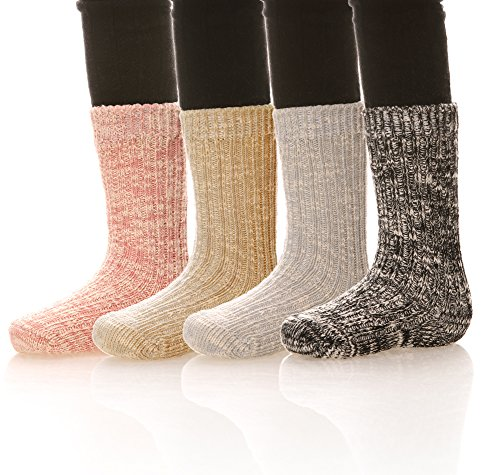 Color City 4 Pairs Unisex Baby Socks Infant Toddler Cotton Floor Non-Skid Warm Winter Stockings Solid Color A 1-2 Years