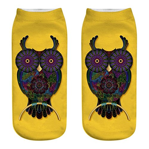 (BCDshop Ladies Owl Cute Casual Sport Socks 3D Medium Soft Comfor Socks Low Cut (F))