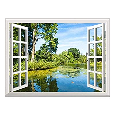 Removable Wall Sticker/Wall Mural - Lush Green Woodland Park Reflecting in Tranquil Pond in Sunshine | Creative Window View Wall Decor - 36