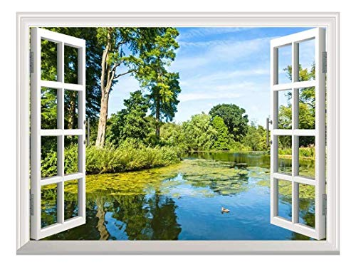 Removable Wall Sticker Wall Mural Lush Green Woodland Park Reflecting in Tranquil Pond in Sunshine Creative Window View Wall Decor