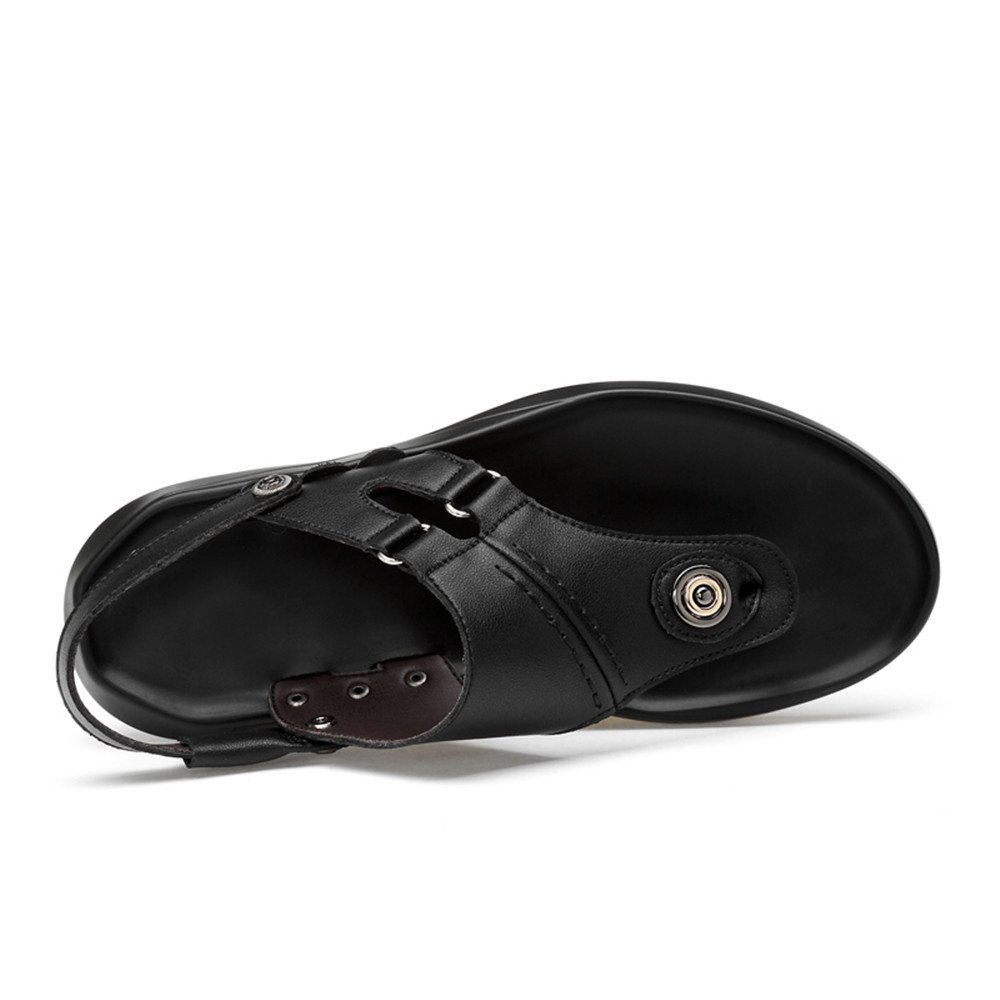 Comfortable Soft Breathable Mens PU Leather Beach Sandals Non-Slip Soles Slippers Black Adjustable Black Soft
