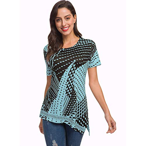 NASKY Women's Casual Loose Short Sleeveless Geometric Print T-Shirts Tops (Black&Blue, Large)