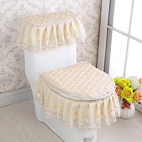 MKSFY Toilet Seat Cover Thickened 3-Piece Home Bathroom Antibacterial Lace All-Inclusive Zipper Pad Circle Toilet, Ginger Yellow