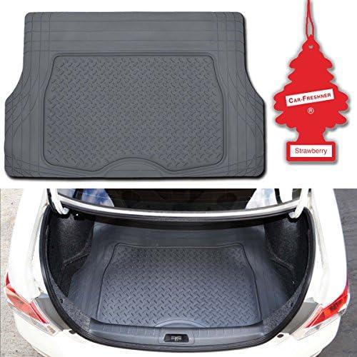 Motor Trend Premium Odorless Gray Heavy Duty Trimmable Ridged Rubber Cargo Floor Mat w/Little Tree Strawberry