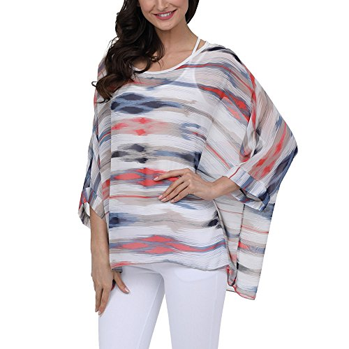 Chiffon Poncho Cover - QIUYEJUO Womens Floral Batwing Sleeve Beach Cover ups Loose Chiffon Blouse Tunic Tops
