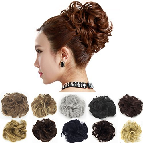 Scrunchie Peppers (Dodoing Curly Messy Hair Bun Extension Ponytail Hairpiece Hair Extensions Donut Hair Chignons Hair Piece Wig 14 Colors)