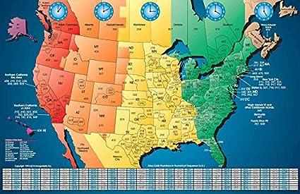 Map Of North America Time Zones.Amazon Com North America Satin Finish Full Color Time Zone Area