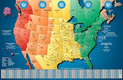 North America Satin Finish Full Color Time Zone Area Code Map with Reverse Lookup, Extra Large 31 by 48 Inch Wall Size