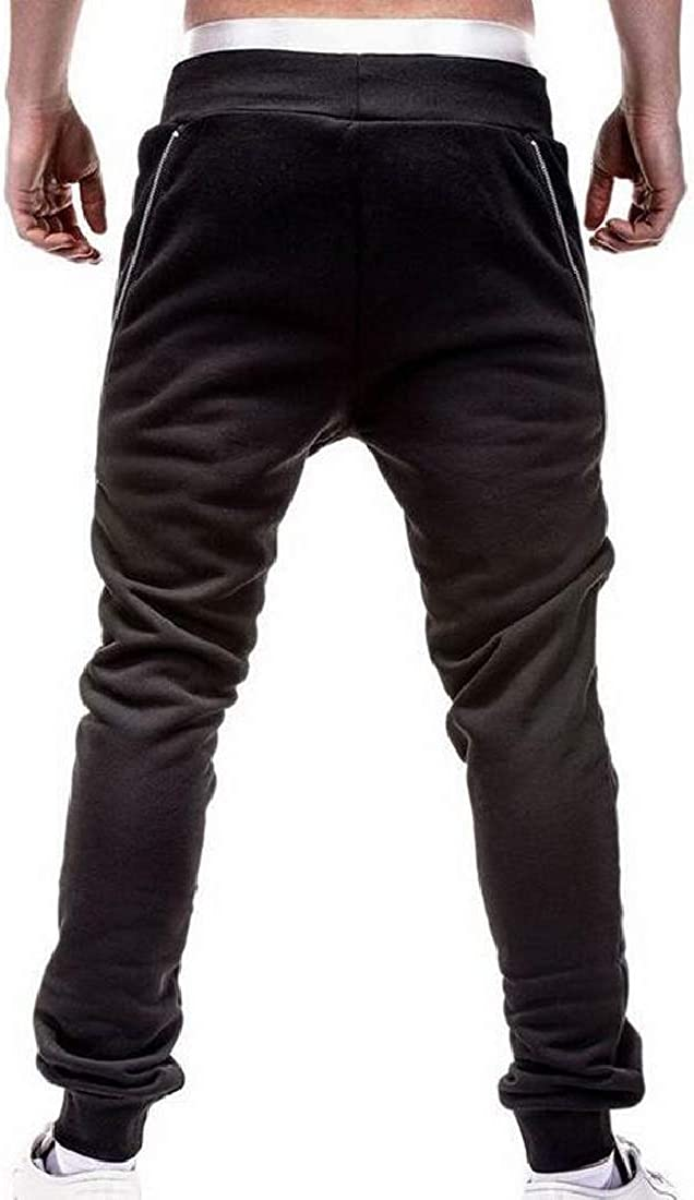 Fensajomon Mens Solid Color Zip Trim Casual Sports Sweatpants Jogger Pants Trousers