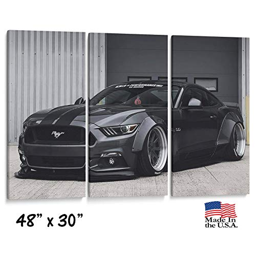 Three Panel Split Canvas Wrap - Ford Mustang Artwork - Racing Sports car- Office Home Wall Decor- Man cave Art- 1.5