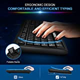 VicTsing Spill-Resistant Wired Keyboard, Computer USB Keyboard with 5 Feet USB Cable and Foldable Stands, Support Windows 10/8/7/Vista/XP, Mac, Linux, Black