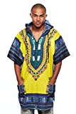 Mens African Swag Dashiki Loose Traditional Long Hoodie Top W/ Hood (One Size, Yellow/Blue)