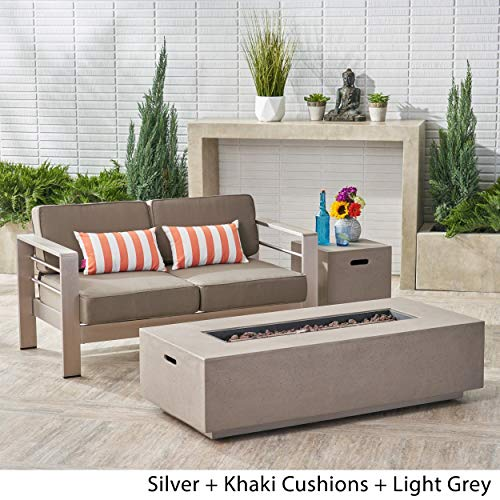 Christopher Knight Home Cape Coral Outdoor Loveseat and Fire Pit Set by Silver + Khaki Cushions + Light Grey