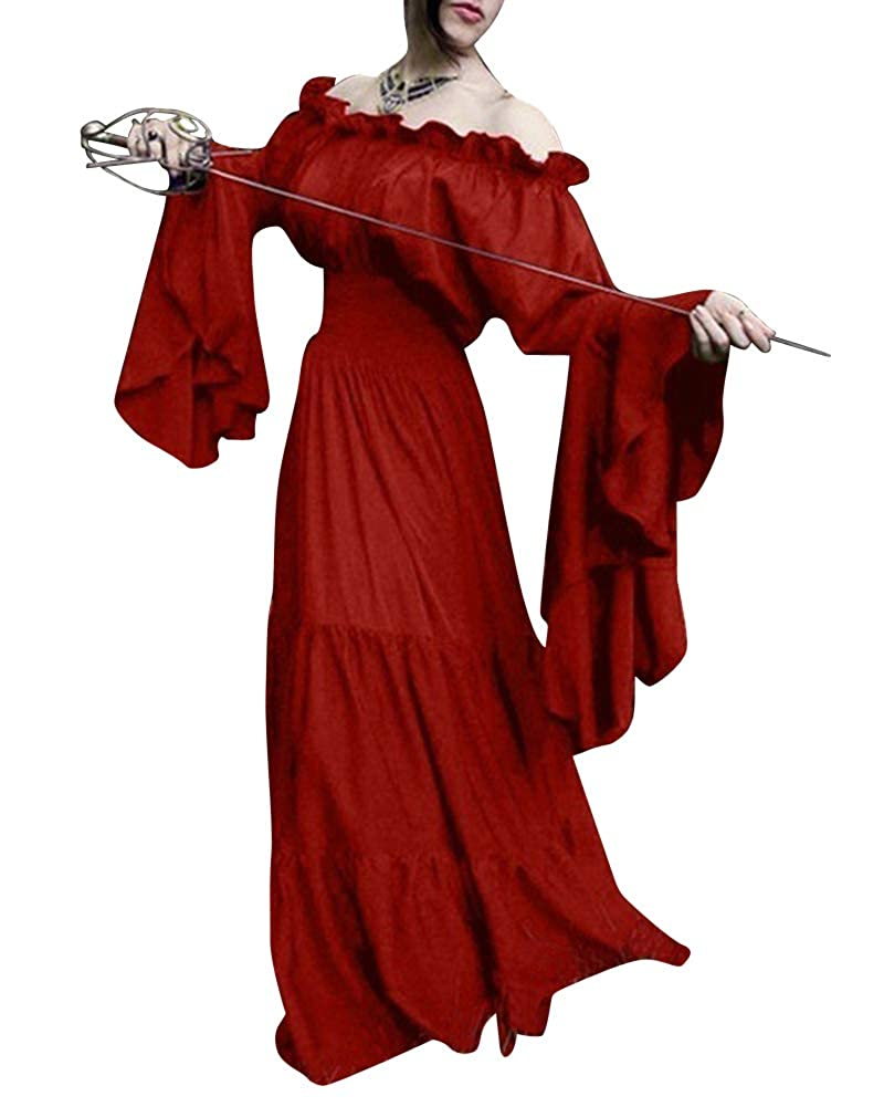 ShiFan Mujer Disfraz De Cosplay Vestidos De Fiesta Vintage Medieval Ropa Sin Hombros