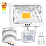 CLY LED PIR Floodlight, 30W Security Lights with Motion Sensor, Super Bright 2700Lumen 3000K Waterproof IP66 Outdoor Lights for Garden, Backyard, Garage, Forecourt, Warm White【White Shell】