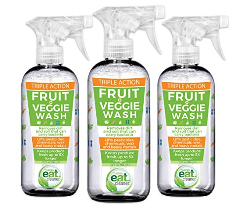 Eat Cleaner Fruit and Vegetable Wash Removes Harmful Residue Water Can't, Patented Veggie Wash Spray Extends Produce Life Up to 5X, Prevents Browning, Eliminates Waste, Vegan, Non GMO, 3-pack (12 oz)