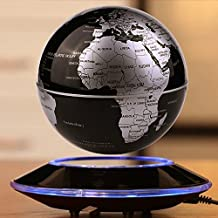 "6"" Magnetic Floating World Map Globe With LED Light, Globes World, Magnetic Rotating Globe Anti-gravity Floating Levitating Earth Levitation Globe Suspended in Air World Stage - Stylish Home Office Desktop Display Decoration (black)"
