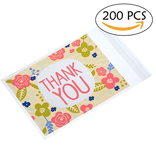 200 PCS THANK YOU Pink Flower Cookie Packaging Self-adhesive Plastic Bags for Wedding Party Bakery Party