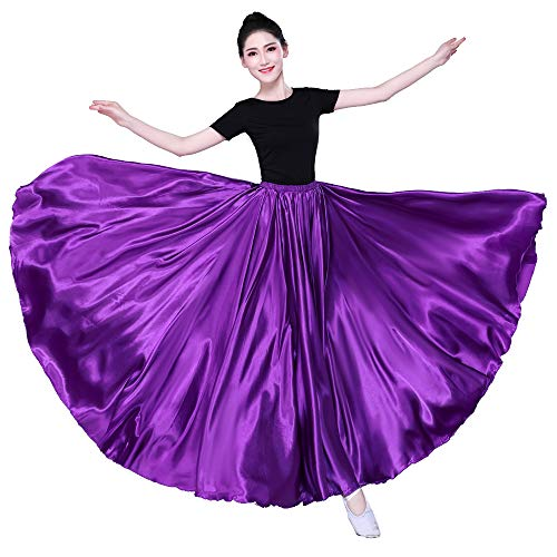 Belly Dance Circle Skirt - 360 Degree Satin Full Circle Long Skirt for Belly Dance Practise Halloween Cosplay Party (One Size fit for US Size 2~16) (Purple)
