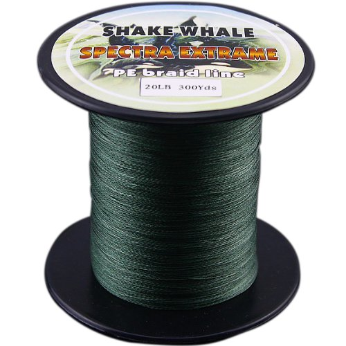 Shake Whale 100-Percent PE Good Quality Briad Braided Fishing Line Green 20LB 300Yds Yards