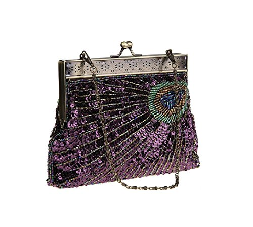 Adoo Beaded Sequin Handbag Vintage Purse Multicolor Unusual Navy Eye And Catching Turquoise Peacock Sunburst Teal Clutch Evening Antique rrSYqp