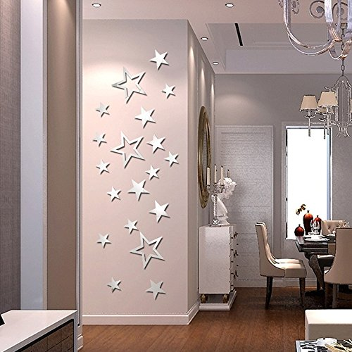ufengke 19-Pcs Five-Pointed Stars Mirror Effect Wall Stickers Fashion Design Art Decals Home Decoration Silver