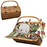 Picnic Time Barrel Picnic Basket with Service for Two, Pine Green