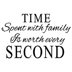 MAFENT(TM)Time spent with family is worth every second quotes vinyl wall decal for home décor(Black,27''x20'')