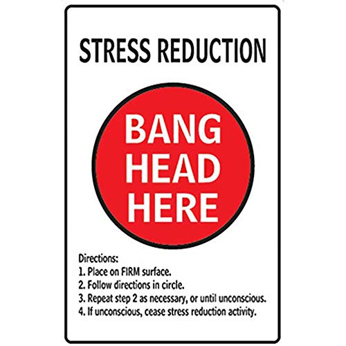 (CBTsupply Retro Tin Wall Poster Stress Reduction Bang Head HERE Vintage Metal Sign 30x20cm for Bar Koffee Livingroom Kitchen)