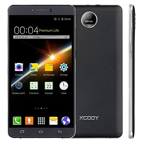 Xgody Y12 3G Unlocked Smartphone 6 Inch Android 5.1 ROM 8GB MTK6580M Quad Core Dual Sim Dual Camera WIFI GPS GSM WCDMA Cell Phone Black - Android Phones For Virgin Mobile