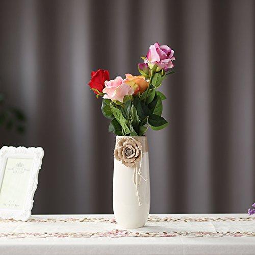 D'vine Dev 10'' Handcrafted Ceramic Flower Vase Elegant Simple White Ceramic Vase